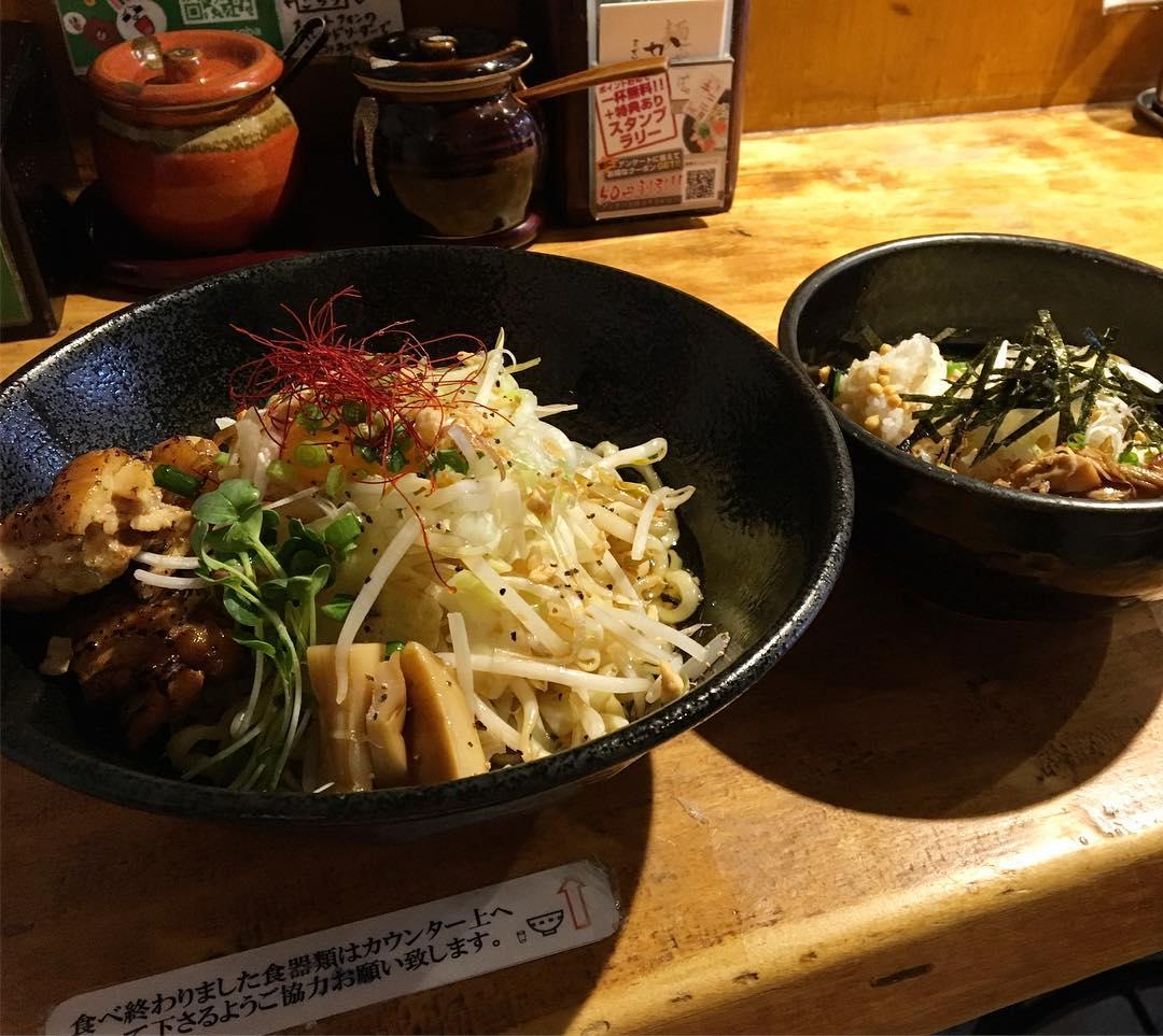 【まぜそば かぐら】まぜそば、だし茶漬けセット (東京都立川市錦町) 第585回