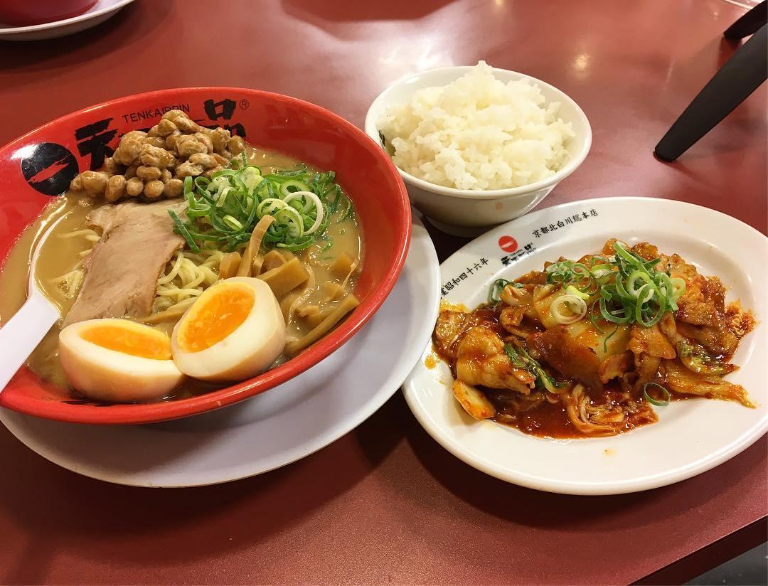 【天下一品 神楽坂店】豚キムチ定食、トッピング:味玉:納豆 (東京都新宿区神楽坂) 第600回