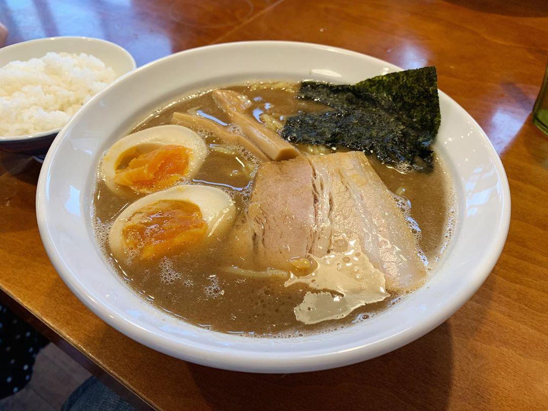 【ラーメンサンガ】鰹豚麺(味玉入り)+半ライス (千葉県館山市北条) 第1711回